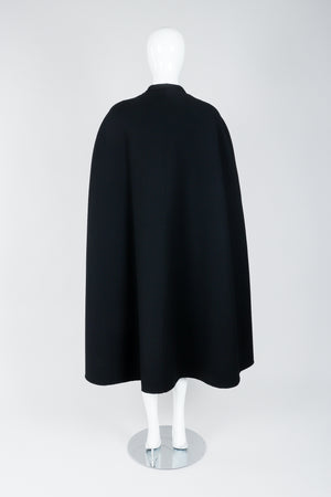 Vintage Halston Long Black Wool Cape back view on Mannequin At Recess Los Angeles