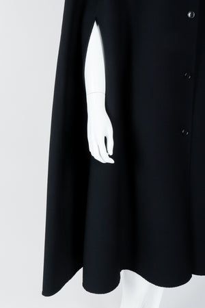Vintage Halston Long Black Wool Cape arm hole on Mannequin At Recess Los Angeles