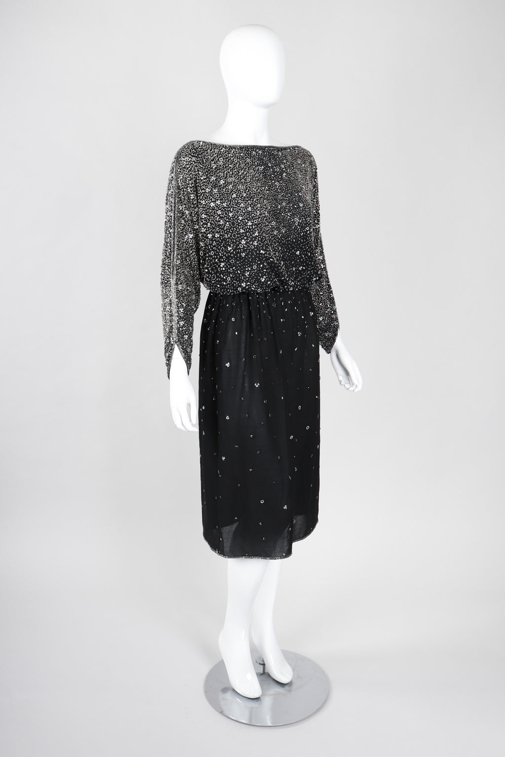 Recess Los Angeles Vintage Rare Halston Beaded Starry Dolman Sleeve Dress