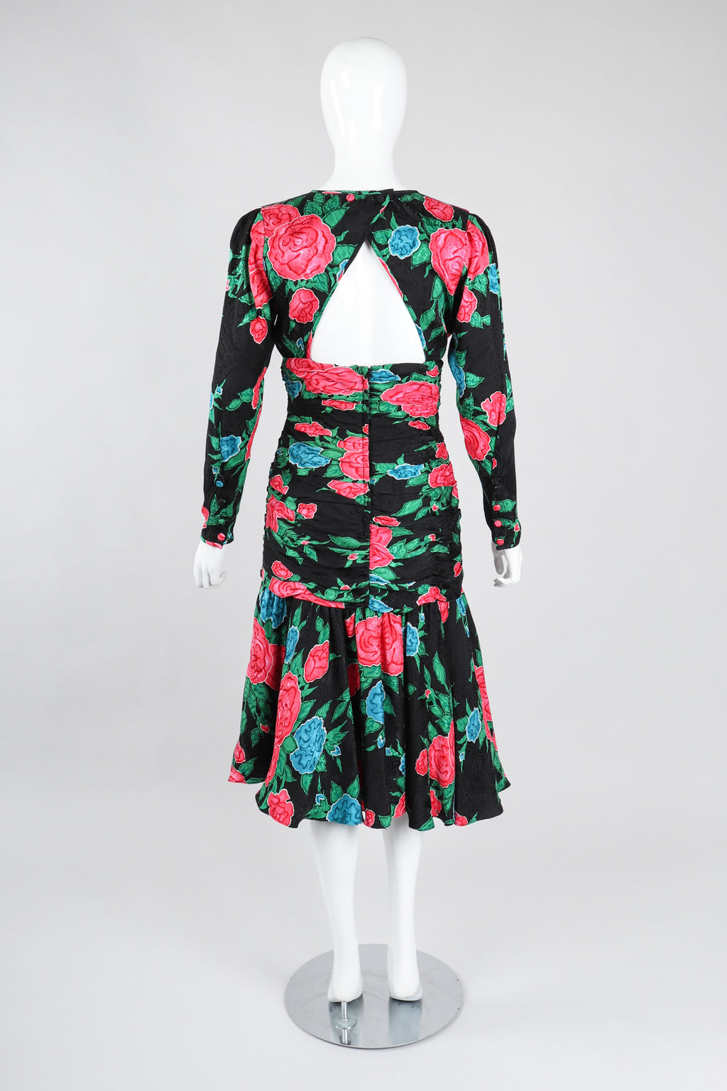 Recess Los Angeles Vintage Hanae Mori Ruched Roses Silk Dress