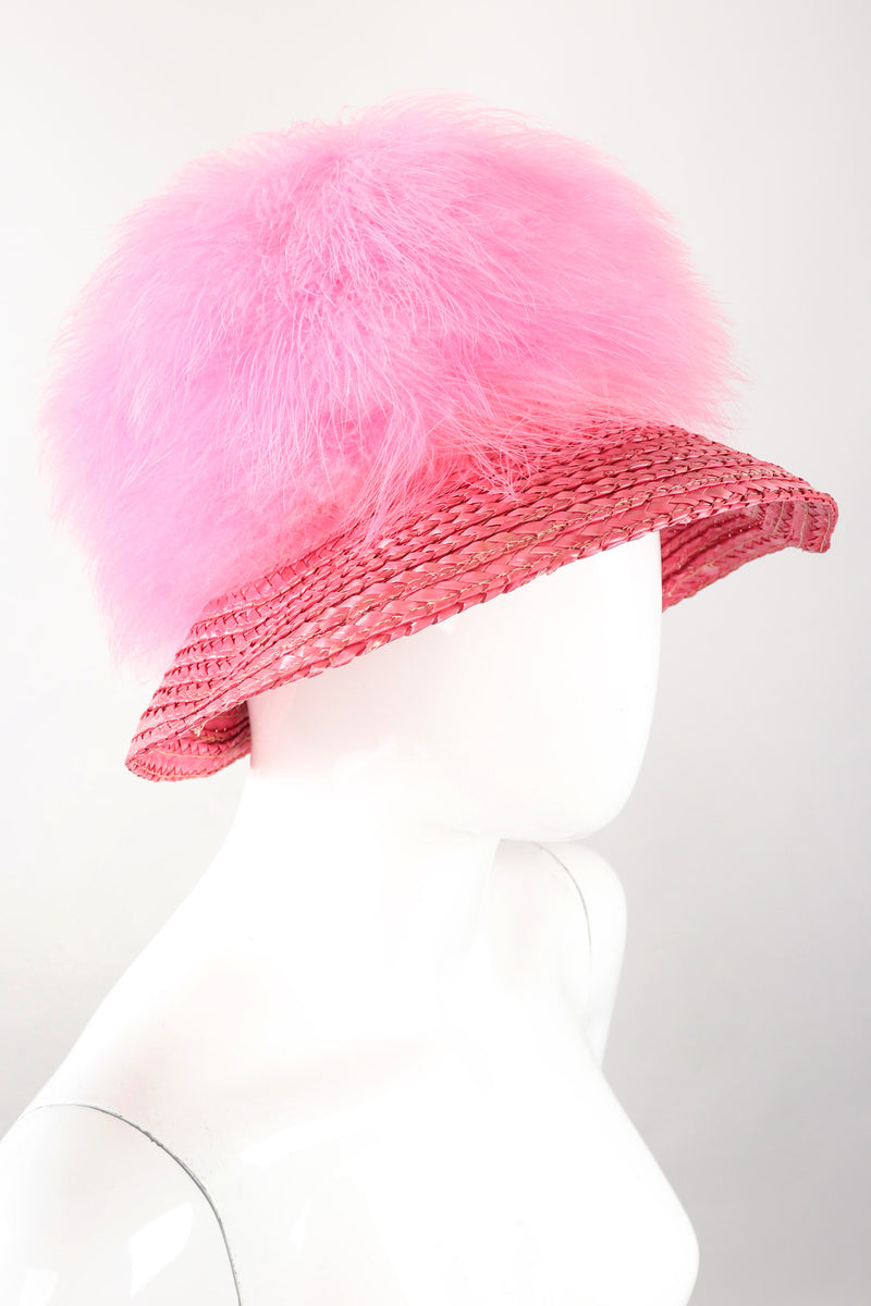 Recess Los Angeles Vintage Happy Cappers Marabou Straw Bubblegum Fluff Puff Hat