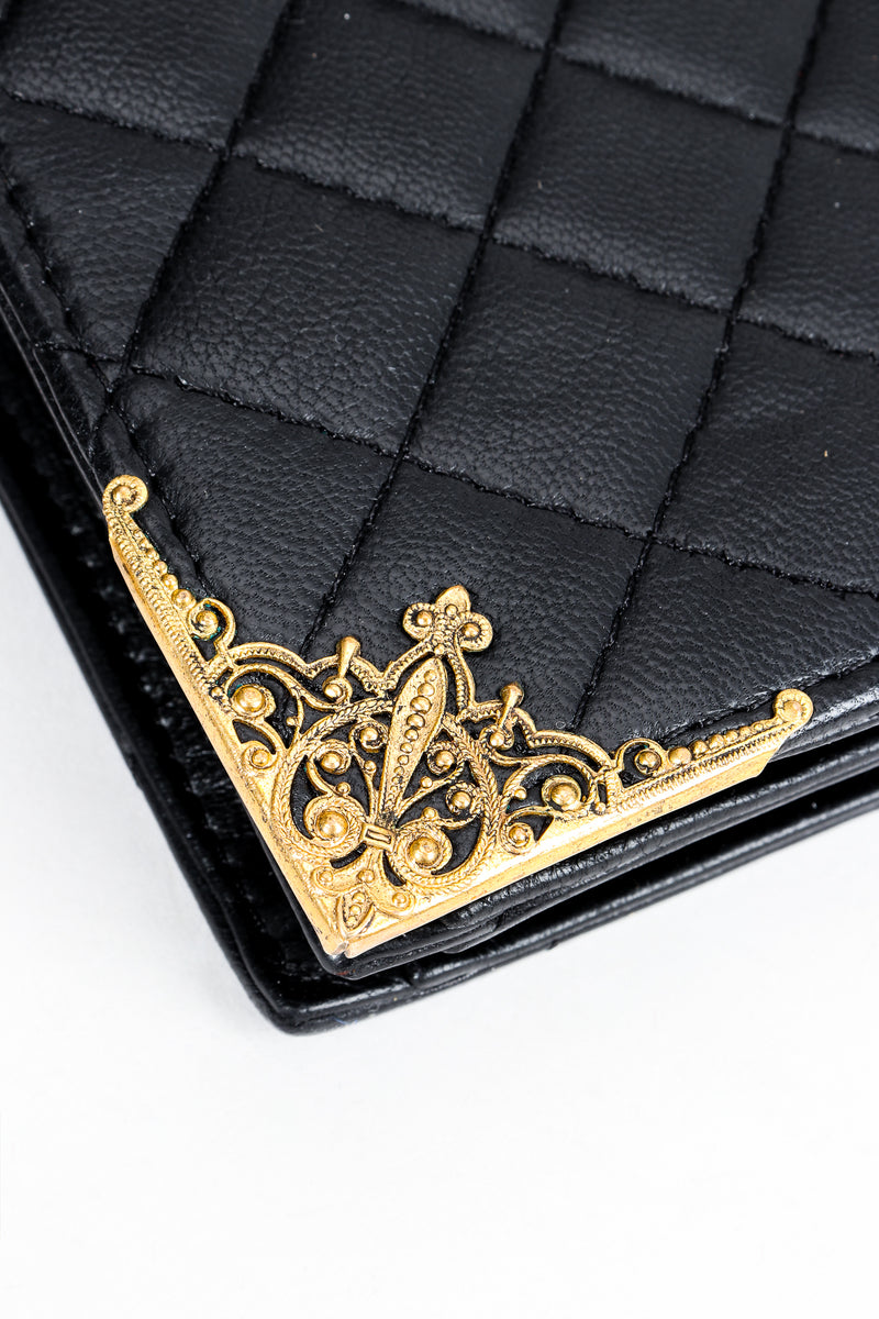 Vintage Helene Angeli Quilted Mini Envelope Portfolio Case Corner Filigree Detail at Recess