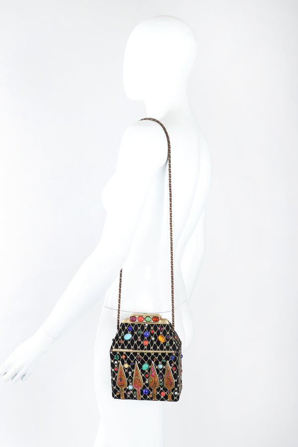 Recess Los Angeles Designer Consignment Resale Recycled Vintage Helene Angeli Royal Jeweled Box Bag