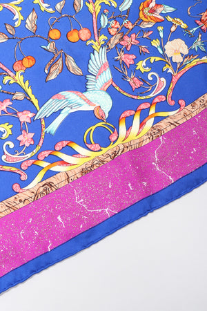 Recess Los Angeles Vintage Hermes Pierres D'Orient Et D'Occident Floral Bird Scarf