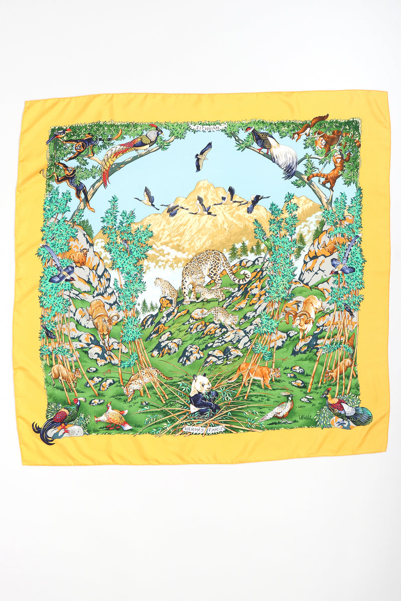 Recess Designer Consignment Vintage Hermes Robert Dallet Sichuan Wildlife Wildcat Panda Silk Scarf Los Angeles Resale