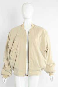 Vintage Hermés Motor Club Silk Print Bomber Jacket on Mannequin reverse at Recess Los Angeles