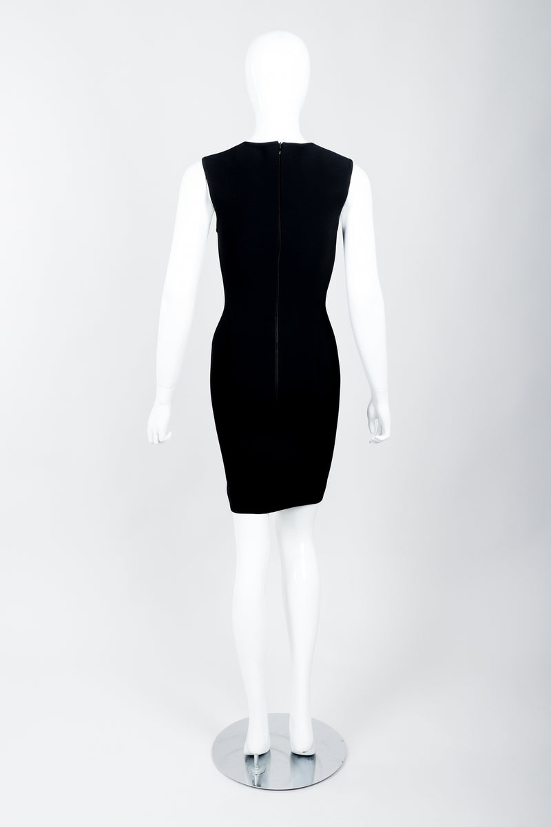 Vintage Herve Leger Queen Anne Bodycon Stretch Cocktail Dress on Mannequin back at Recess