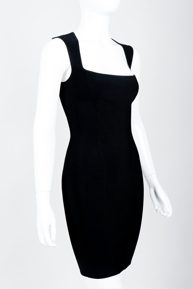 Vintage Herve Leger Queen Anne Bodycon Stretch Cocktail Dress on Mannequin crop angle at Recess
