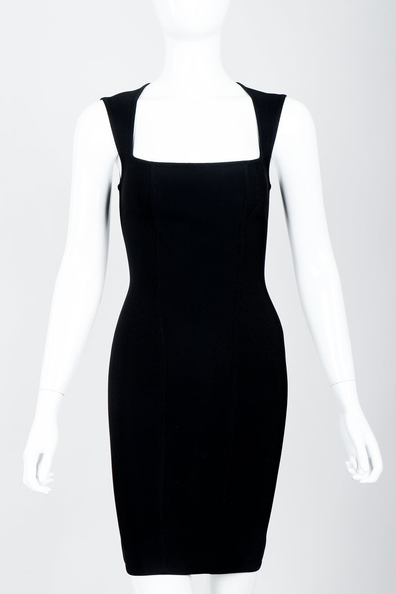 Vintage Herve Leger Queen Anne Bodycon Stretch Cocktail Dress on Mannequin front crop at Recess