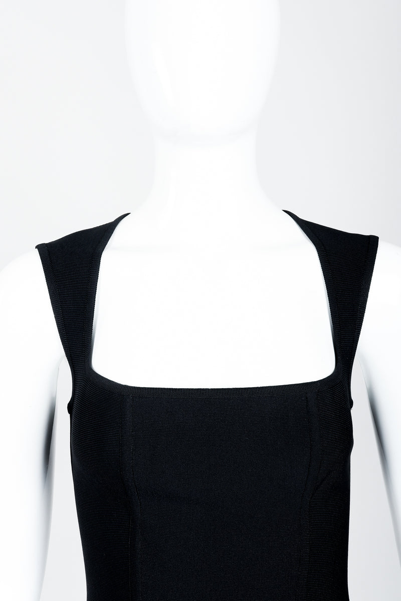 Vintage Herve Leger Bodycon Stretch Cocktail Dress on Mannequin queen anne neckline