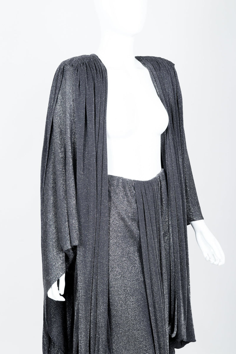 Vintage Holly Harp Metallic Cape Coat Front Angled Crop at Recess