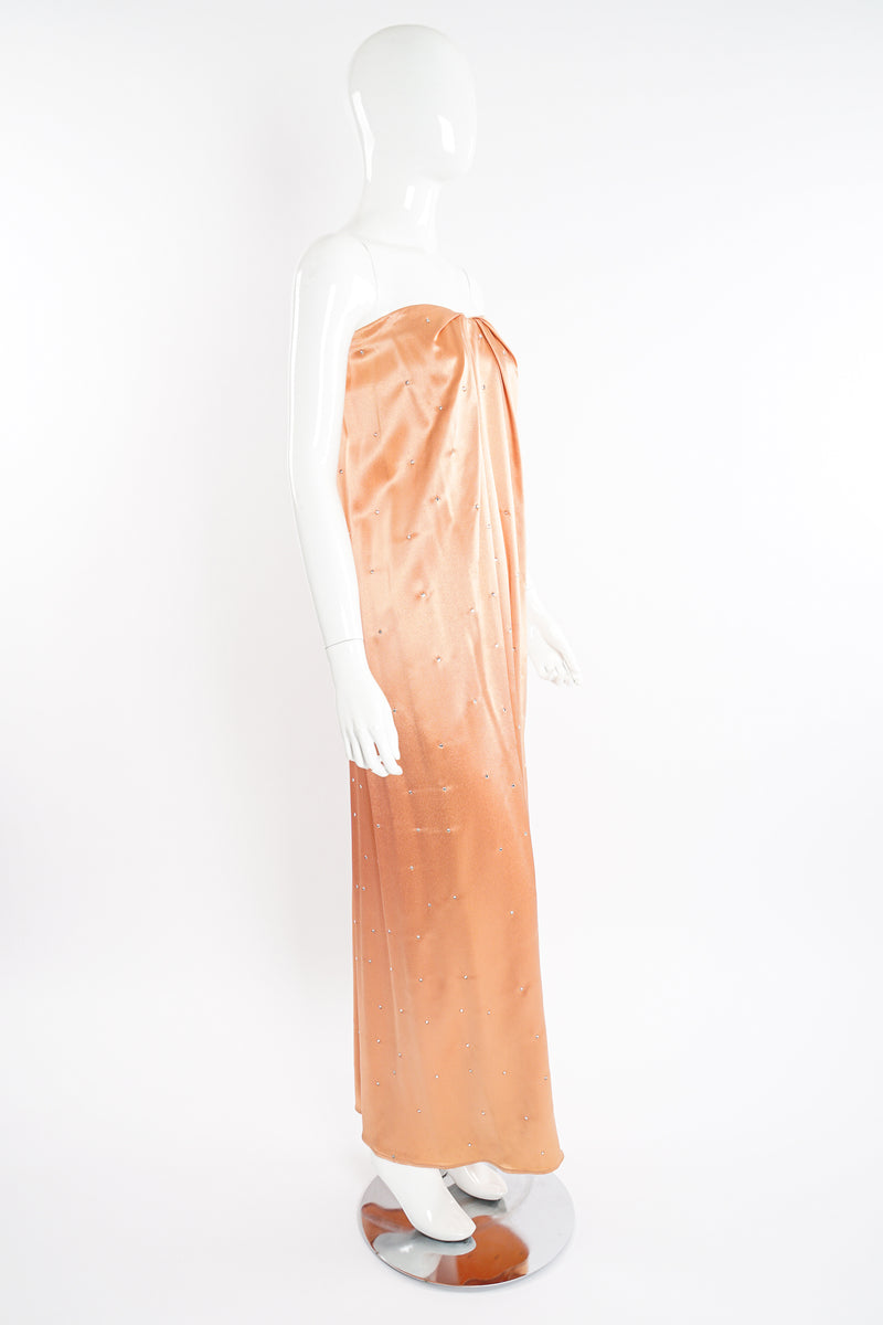 Vintage Holly's Harp Peach Satin Dress Set on Mannequin angle at Recess Los Angeles