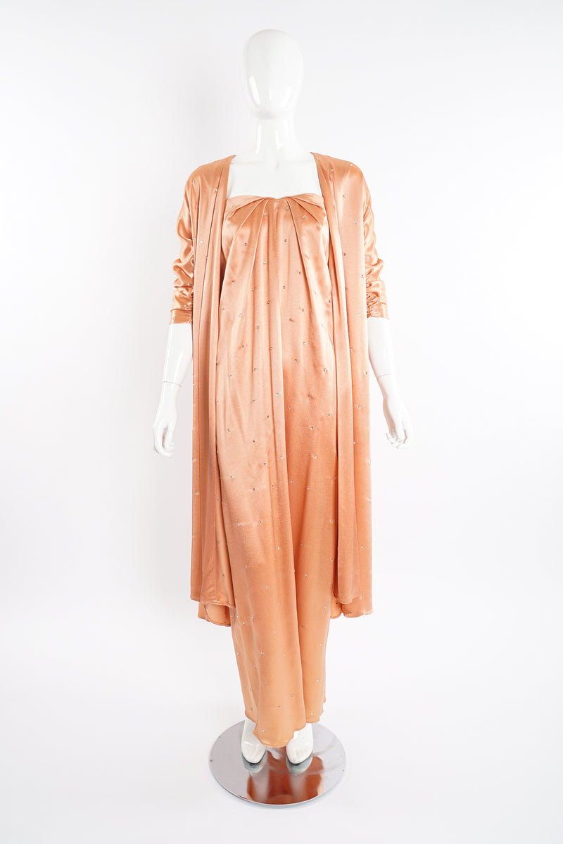 Vintage Holly's Harp Peach Satin Duster & Dress Set on Mannequin front at Recess Los Angeles