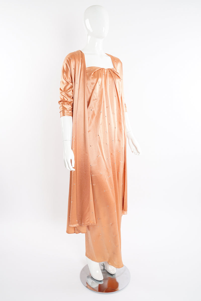 Vintage Holly's Harp Peach Satin Duster & Dress Set on Mannequin angle at Recess Los Angeles