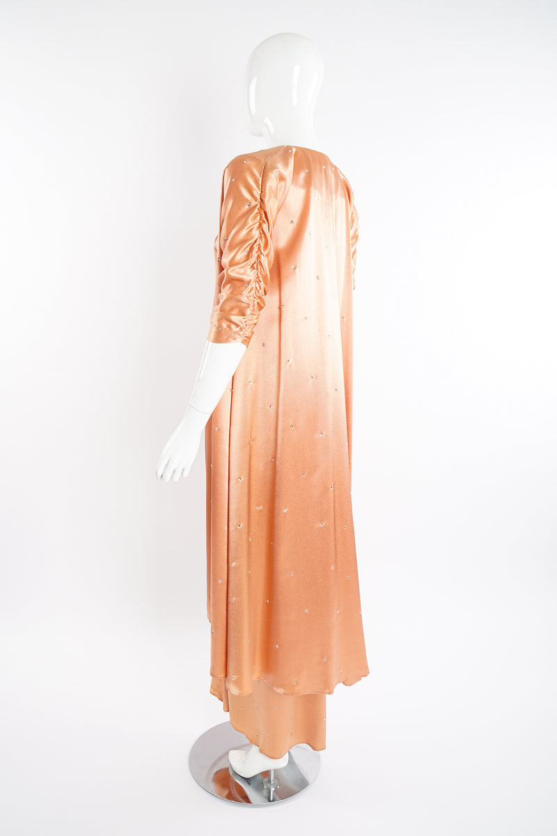 Vintage Holly's Harp Peach Satin Duster & Dress Set on Mannequin back angle at Recess Los Angeles