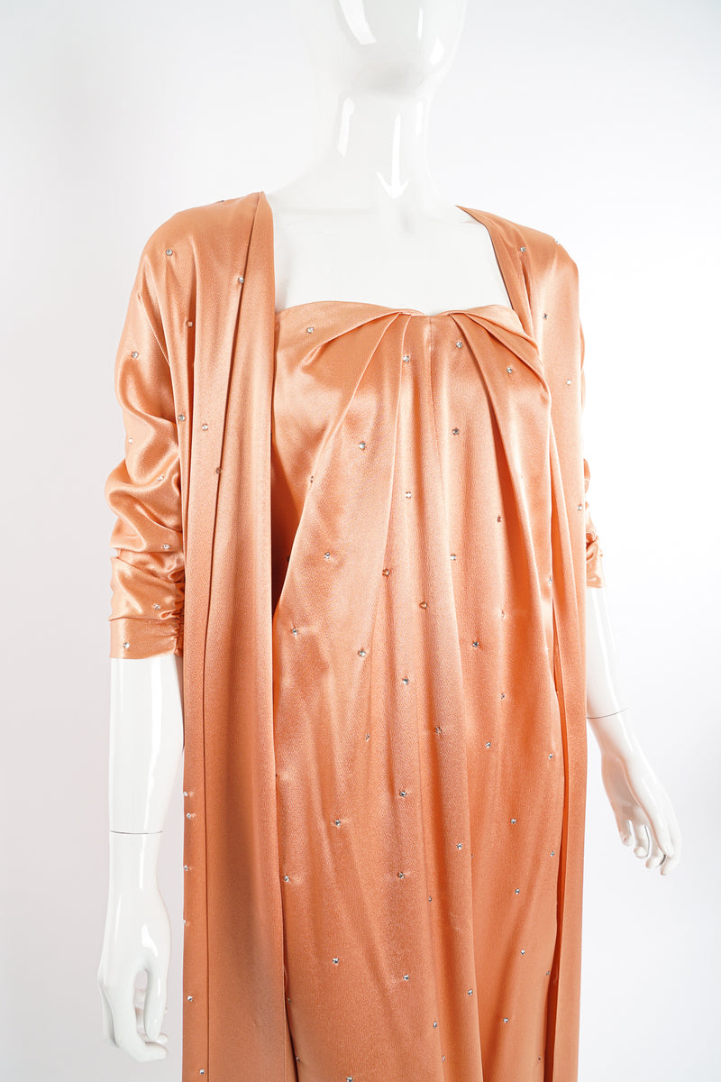 Vintage Holly's Harp Peach Satin Duster & Dress Set on Mannequin crop at Recess Los Angeles