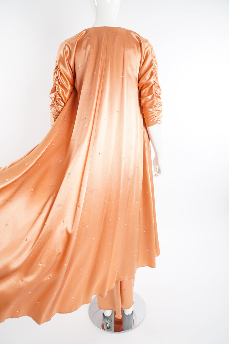 Vintage Holly's Harp Peach Satin Duster & Dress Set on Mannequin back at Recess Los Angeles