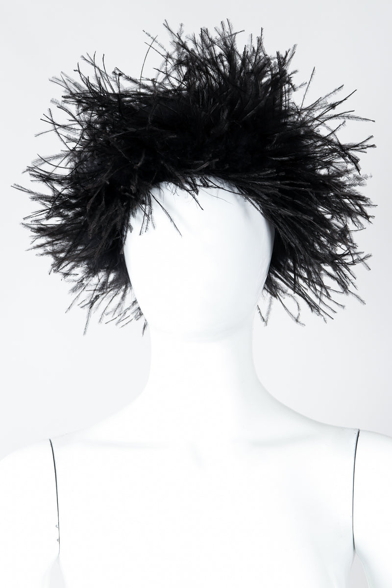 Vintage I.Magnin Ostrich Feather Urchin Hat on Mannequin Front At Recess Los Angeles