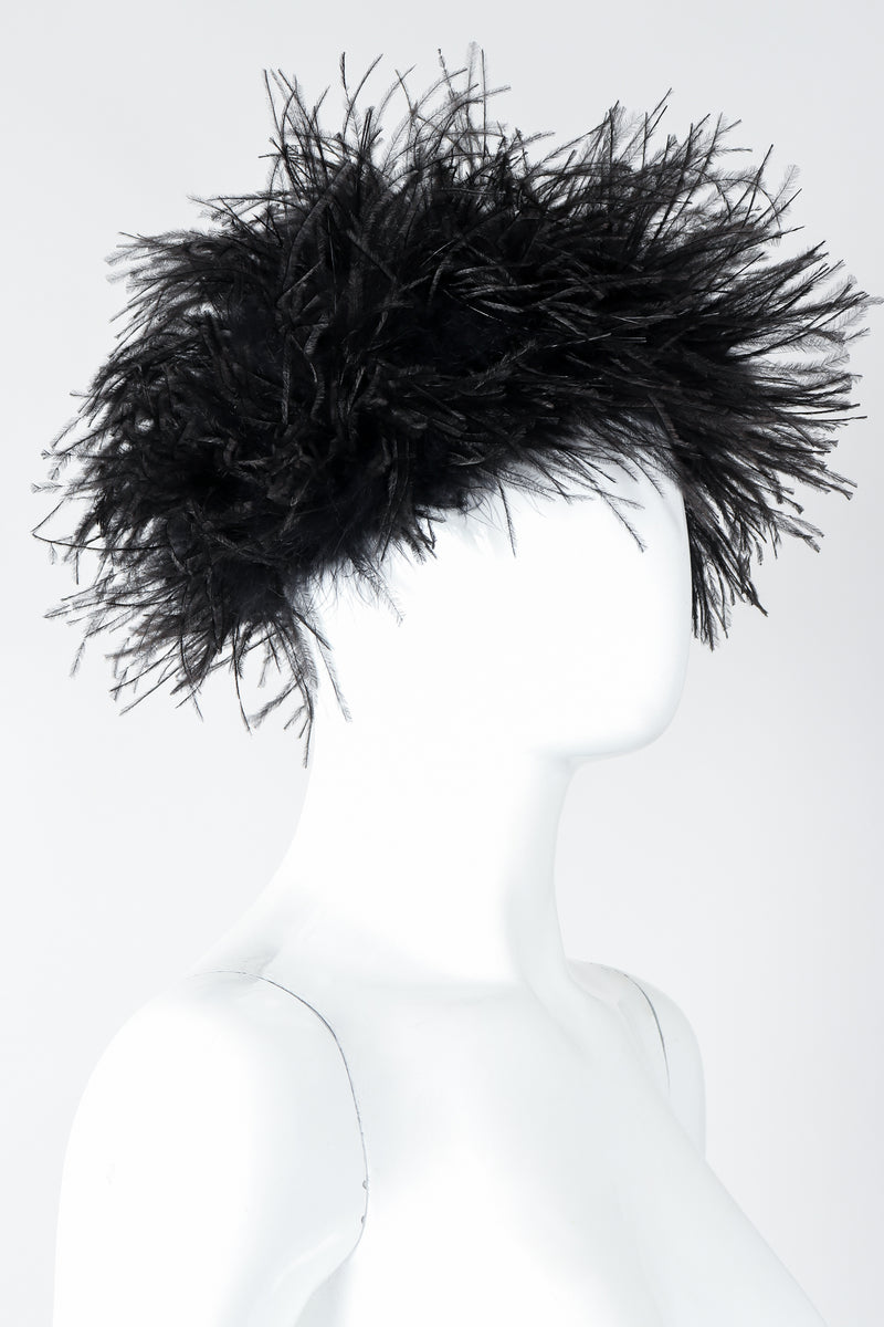 Vintage I.Magnin Ostrich Feather Urchin Hat on Mannequin Side At Recess Los Angeles