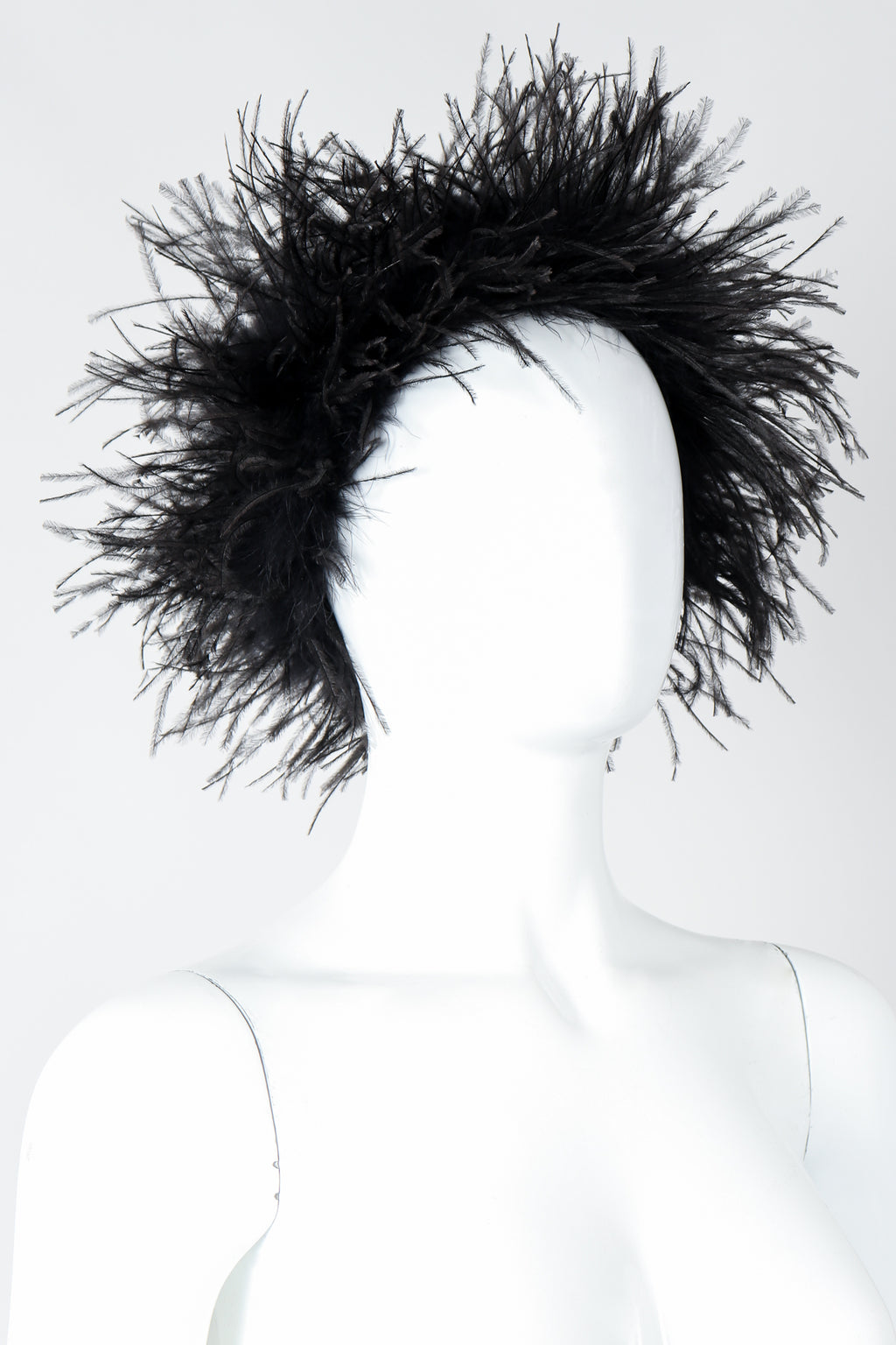 Vintage I.Magnin Ostrich Feather Urchin Hat on Mannequin Angled At Recess Los Angeles