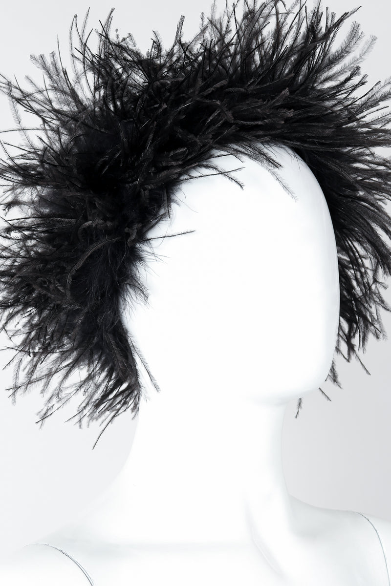 Vintage I.Magnin Ostrich Feather Urchin Hat on Mannequin Close At Recess Los Angeles