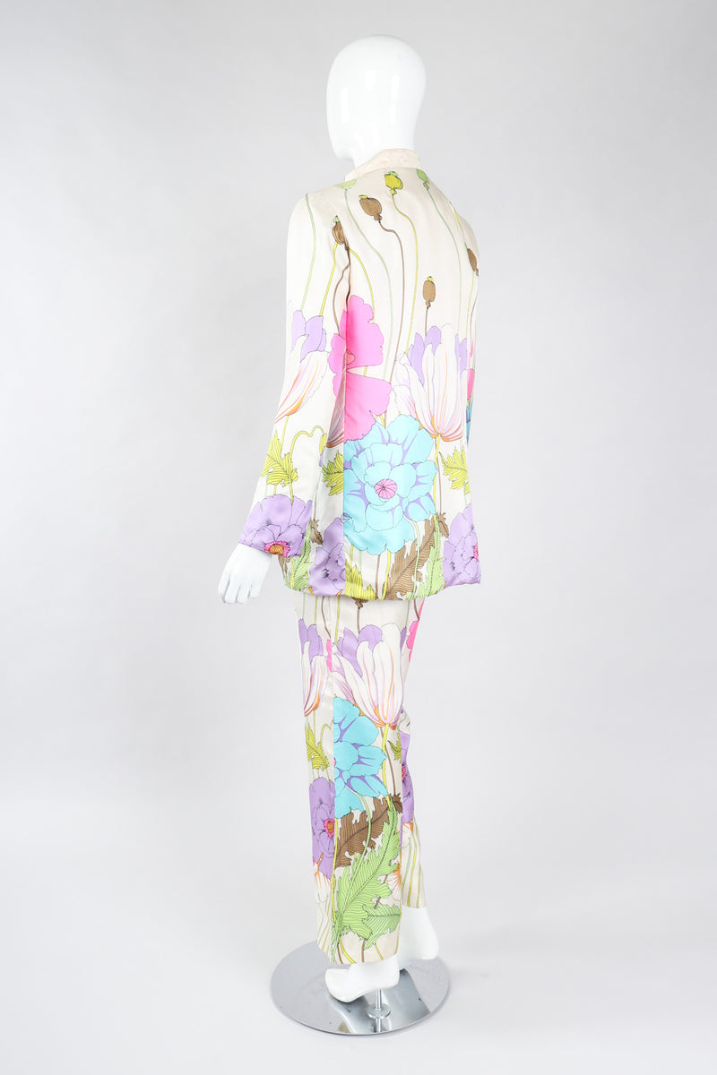 Recess Los Angeles Vintage B.H. Wragge I.Magnin Floral Print Silk Pajama Jacket & Pant Suit Wedding Spring Bridal Set
