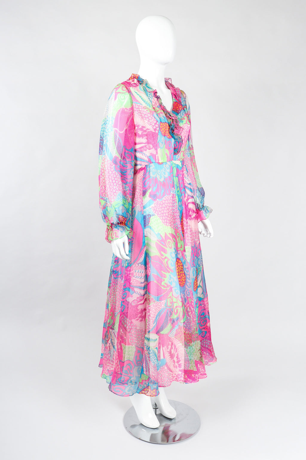 Recess Los Angeles Vintage Nat Kaplan I.Magnin Sheer Psychedelic Neon Mod Floral Dress