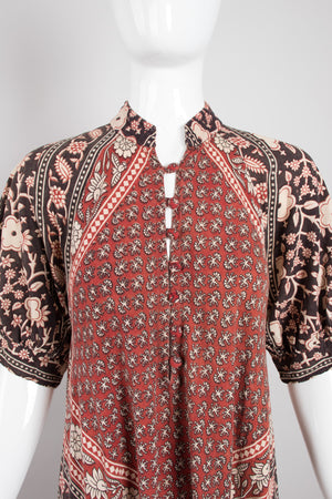 India Imports Cotton Batik Print Onesie Harem Jumpsuit