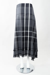 Vintage Isaac Mizrahi Punk Plaid Flannel Wrap Skirt back on Mannequin at Recess