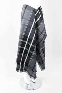 Vintage Isaac Mizrahi Punk Plaid Flannel Wrap Skirt angled on Mannequin at Recess
