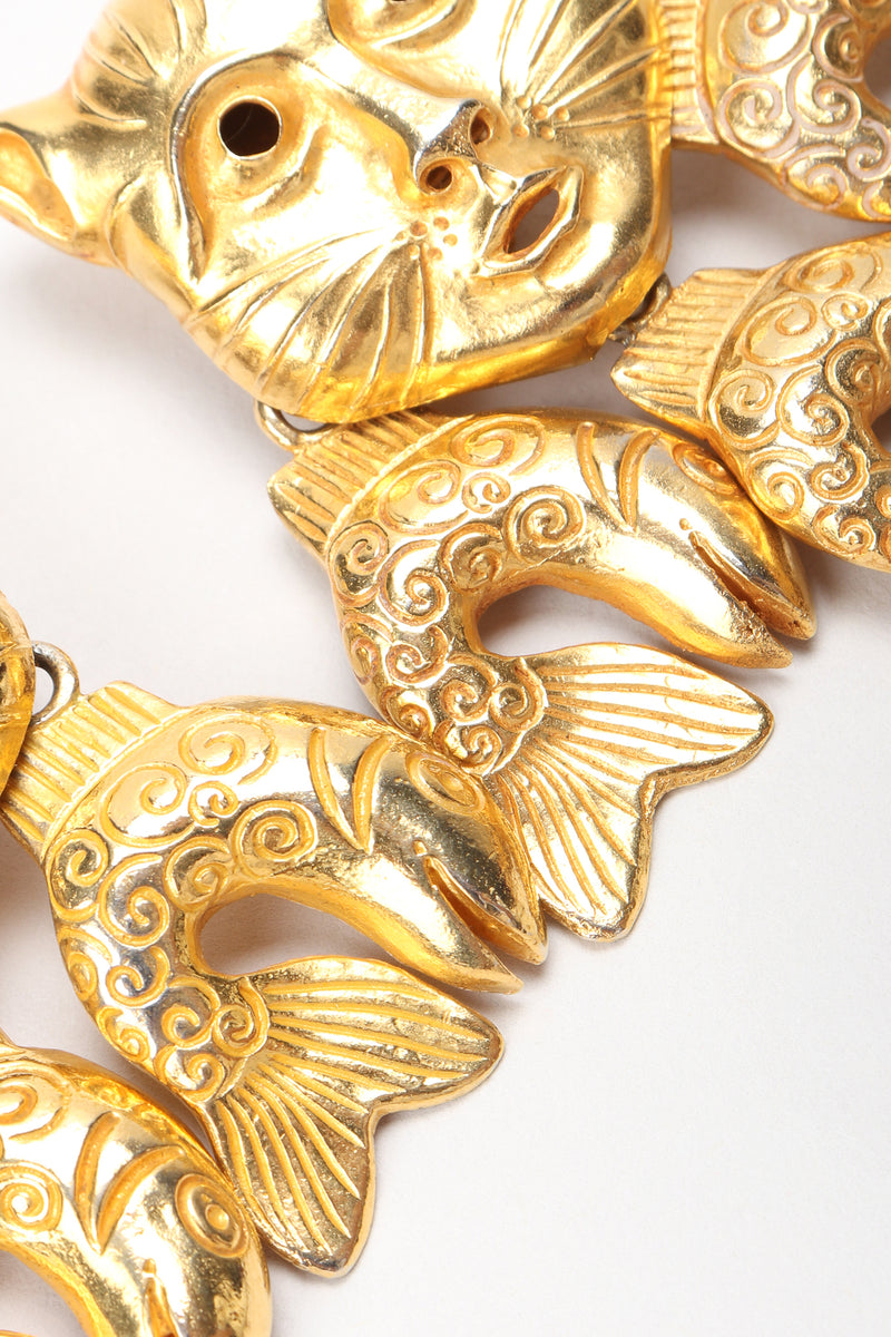 Recess Designer Consignment Vintage Isabel Canovas Catfish Mask Chandelier Earrings