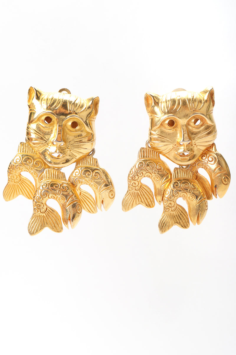 Recess Designer Consignment Vintage Isabel Canovas Catfish Mask Chandelier Earrings Los Angeles Resale