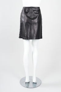 Recess Designer Consignment Vintage Isabel Leather Hooked Top & Skirt Set Outfit Ensemble Los Angeles Resale