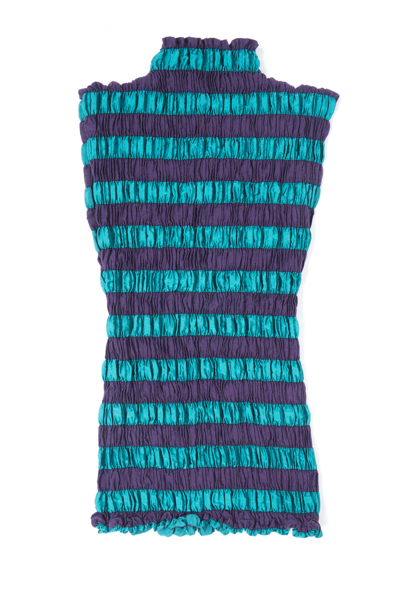 Issey Miyake Shirred Pleated Stripe Sleeveless Top