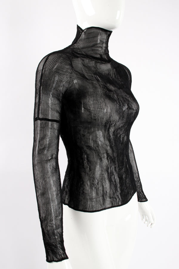 Vintage Issey Miyake Sheer Pleated Tissue Turtleneck on Mannequin angle crop at Recess LA