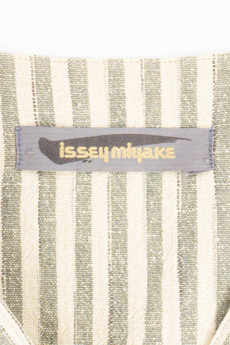 Vintage Issey Miyake Cotton Striped Duster Jacket label at Recess Los Angeles