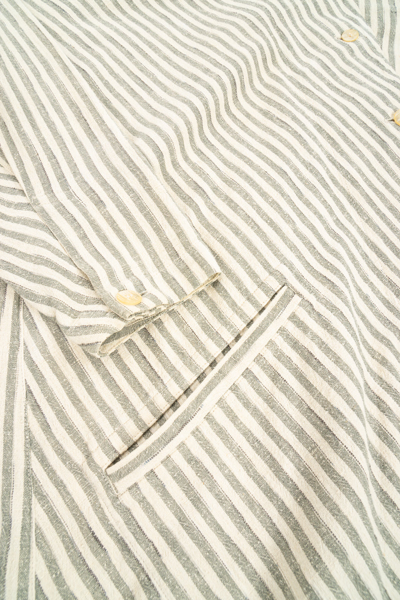 Vintage Issey Miyake Cotton Striped Duster Jacket pocket detail at Recess Los Angeles