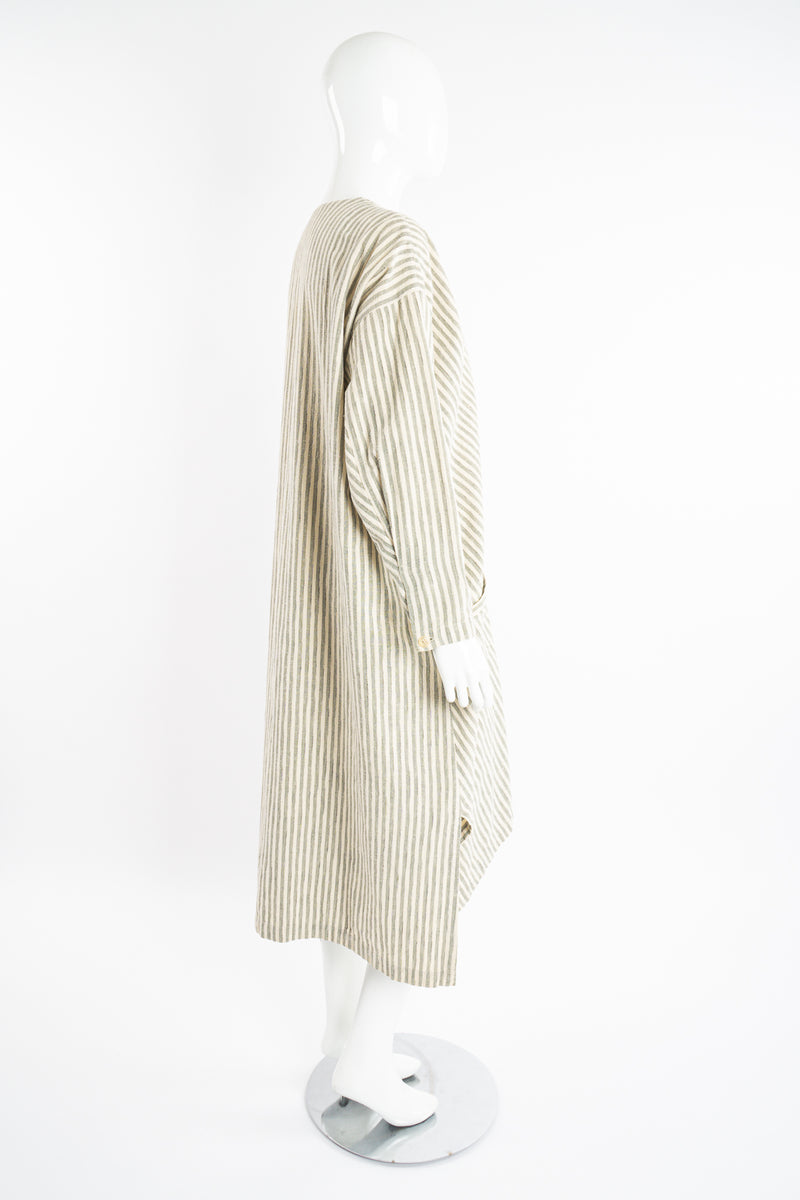 Vintage Issey Miyake Cotton Striped Duster Jacket on Mannequin side at Recess Los Angeles