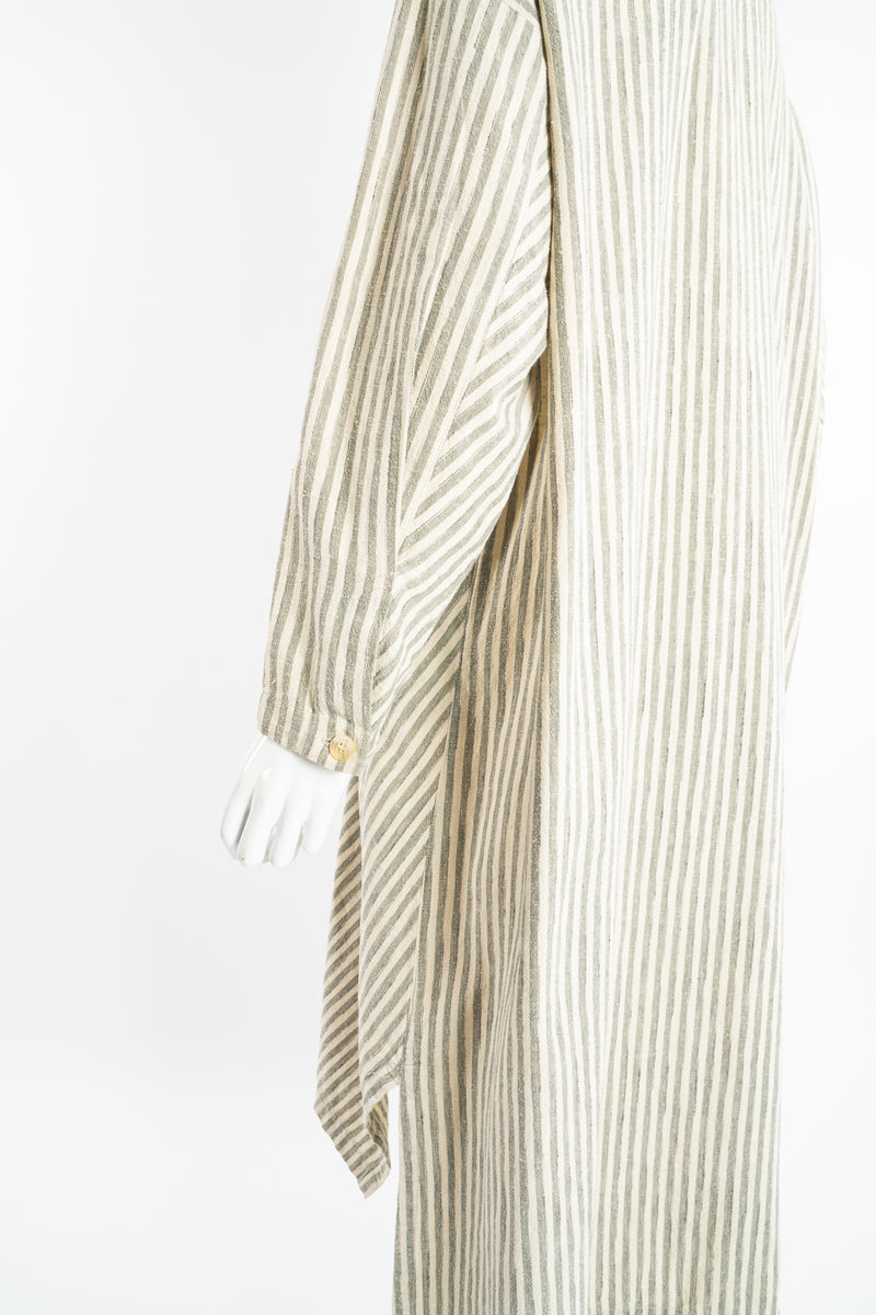 Vintage Issey Miyake Cotton Striped Duster Jacket on Mannequin sleeve detail at Recess Los Angeles