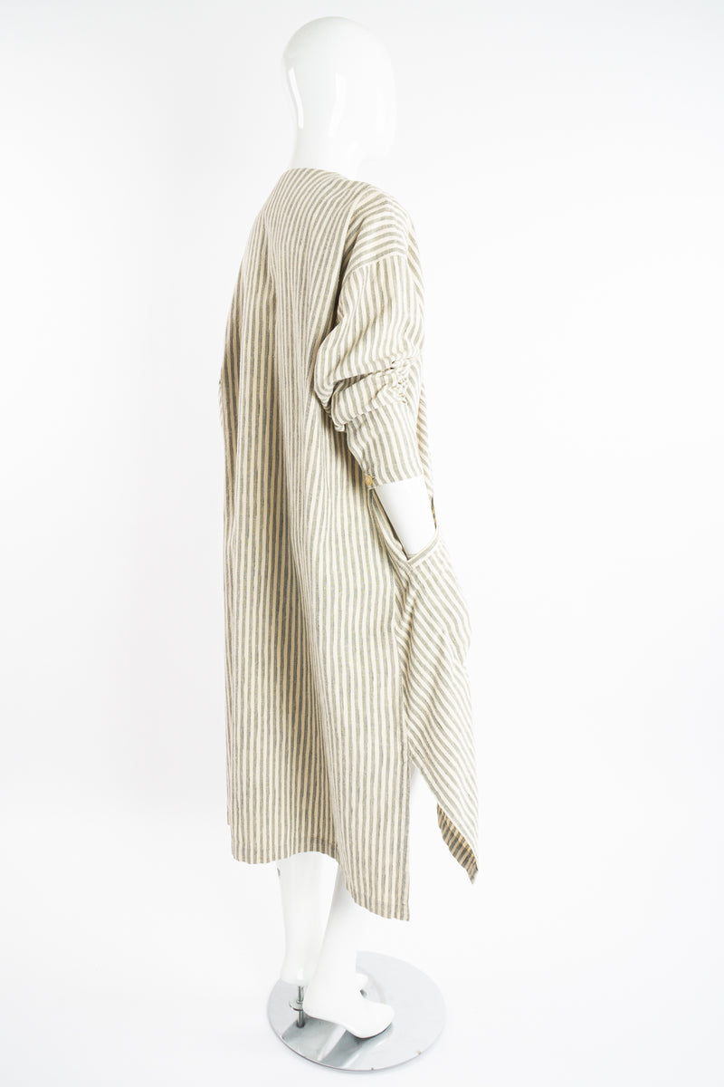 Vintage Issey Miyake Cotton Striped Duster Jacket on Mannequin back angle at Recess Los Angeles