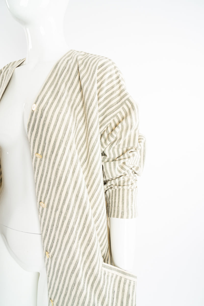 Vintage Issey Miyake Cotton Striped Duster Jacket on Mannequin pocket crop at Recess Los Angeles