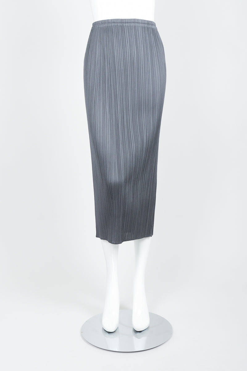 Vintage Issey Miyake Pleats Please Pleated Midi Skirt On Mannequin front at Recess