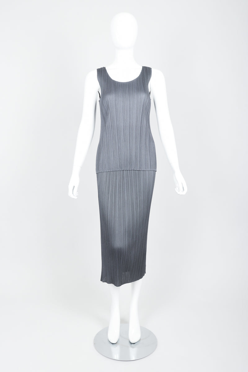 Vintage Issey Miyake Pleats Please Pleated Tank & Midi Skirt Set On Mannequin front at Recess