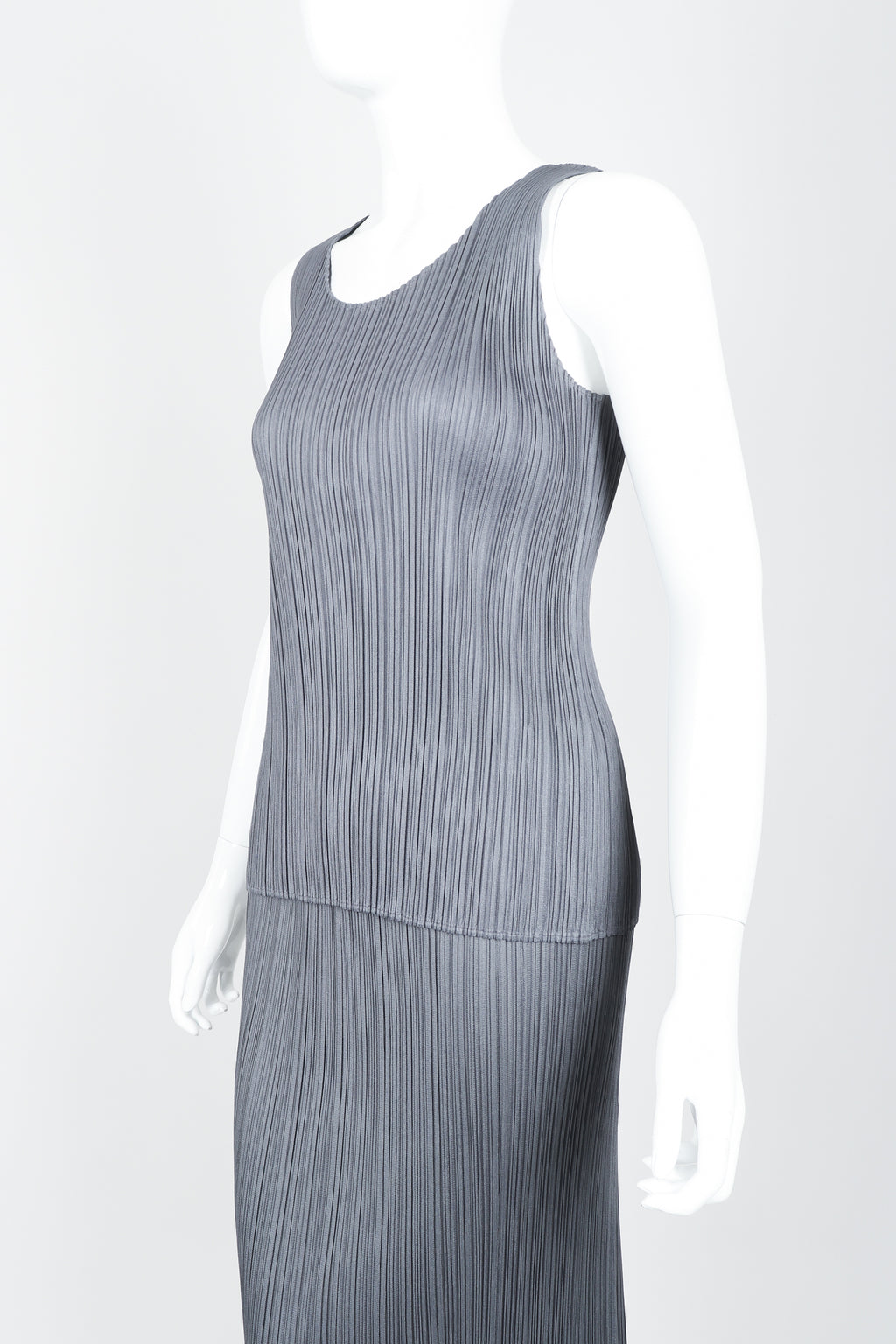 Vintage Issey Miyake Pleats Please Pleated Tank & Midi Skirt Set On Mannequin crop at Recess