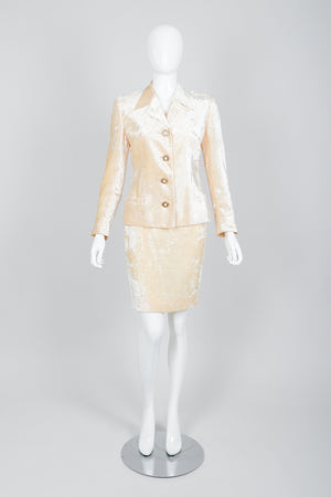Vintage Istante Versace Vanilla Crushed Velvet Jacket & Skirt Set Bridal Suit on Mannequin Front