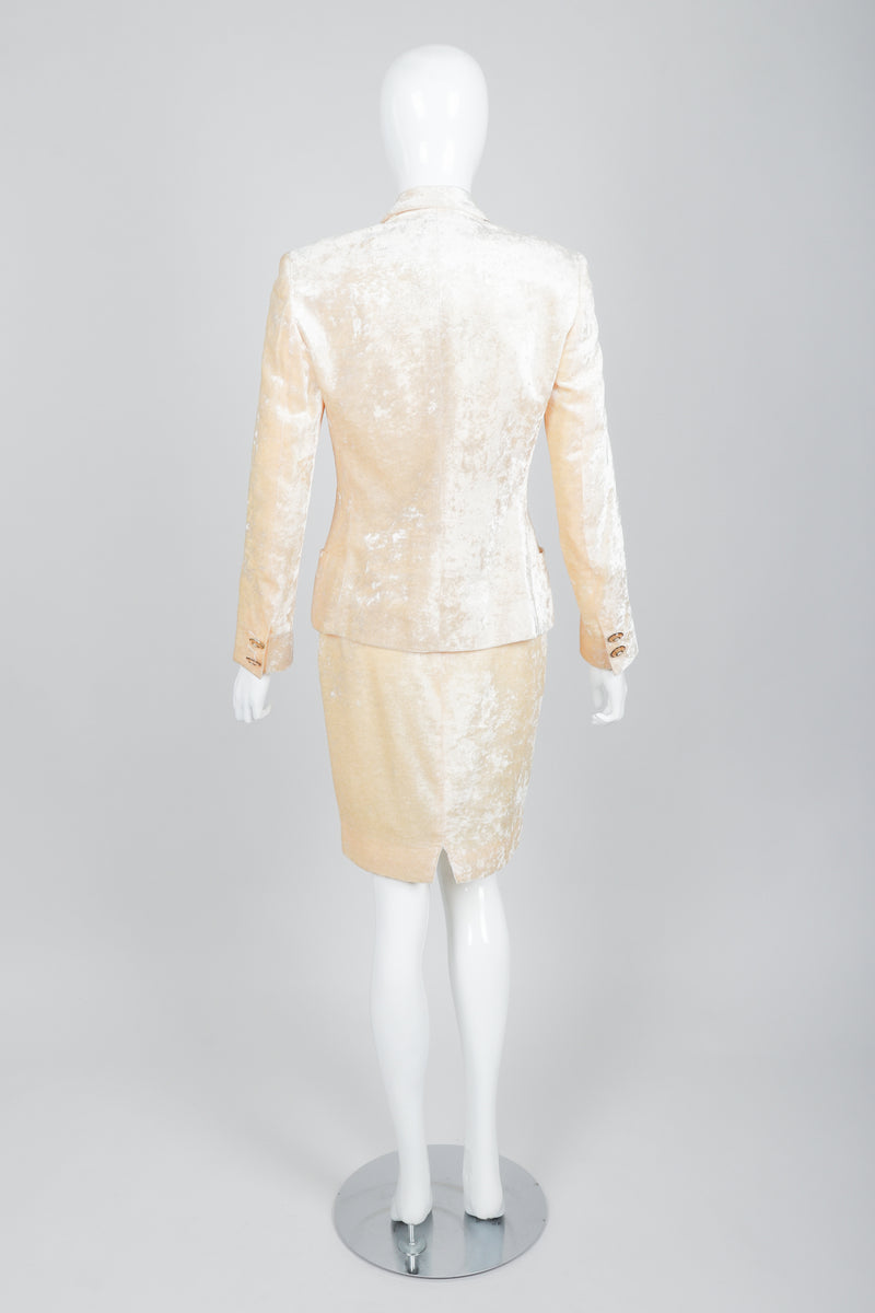 Vintage Istante Versace Vanilla Crushed Velvet Jacket & Skirt Set Bridal Suit on Mannequin Back