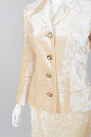 Vintage Istante Versace Vanilla Crushed Velvet Jacket & Skirt Set Bridal Suit on Mannequin Crop