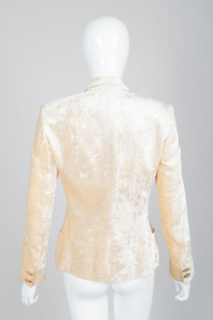 Vintage Istante Versace Vanilla Crushed Velvet Jacket Bridal Suit on Mannequin Back