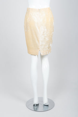 Vintage Istante Versace Vanilla Crushed Velvet Skirt Bridal Suit on Mannequin back