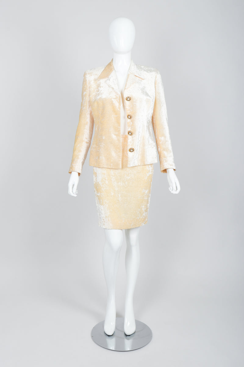 Vintage Istante Versace Vanilla Crushed Velvet Jacket & Skirt Set Bridal Suit on Mannequin Open